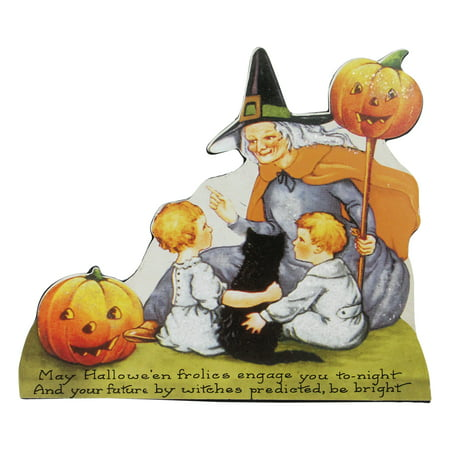 "Halloween Central Ohio (9.5"" Scripted and Glittered Witch Vintage Halloween Sign)"
