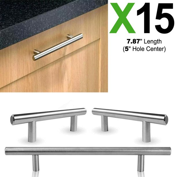 15x Stainless Steel Bar Handle Pull With A Fine Brushed Finish Kitchen Cabinet Dresser Drawer Handles 7 87 Length 5 Hole Center Walmart Com Walmart Com