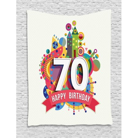 70th Birthday Decorations Tapestry, Modern Geometric Design Colorful Backdrop Castle Shapes Party, Wall Hanging for Bedroom Living Room Dorm Decor, 40W X 60L Inches, Multicolor, by Ambesonne