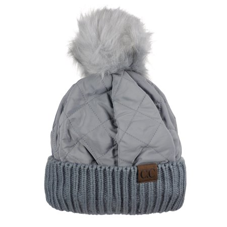 8c3ba63259f C.C Soft Quilted Puffer Detachable Faux Fur Pom Inner Lined Cuff Beanie Hat,  Gray - Walmart.com