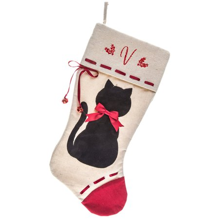 Monogrammed Christmas Stocking, Black Cat Applique on Linen with Bells with Red Script Glitter Initial