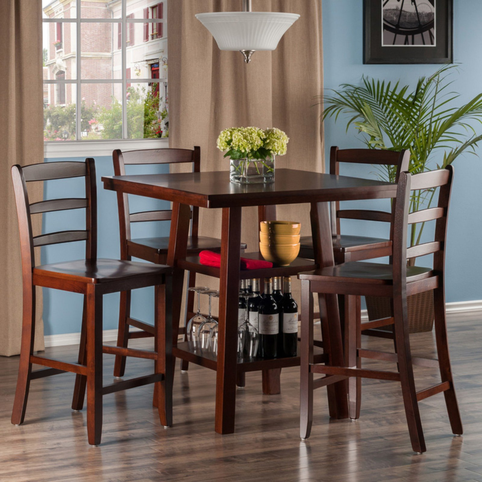Orlando 5-Pc Set High Table, 2 Shelves w/ 4 Ladder Back Stools