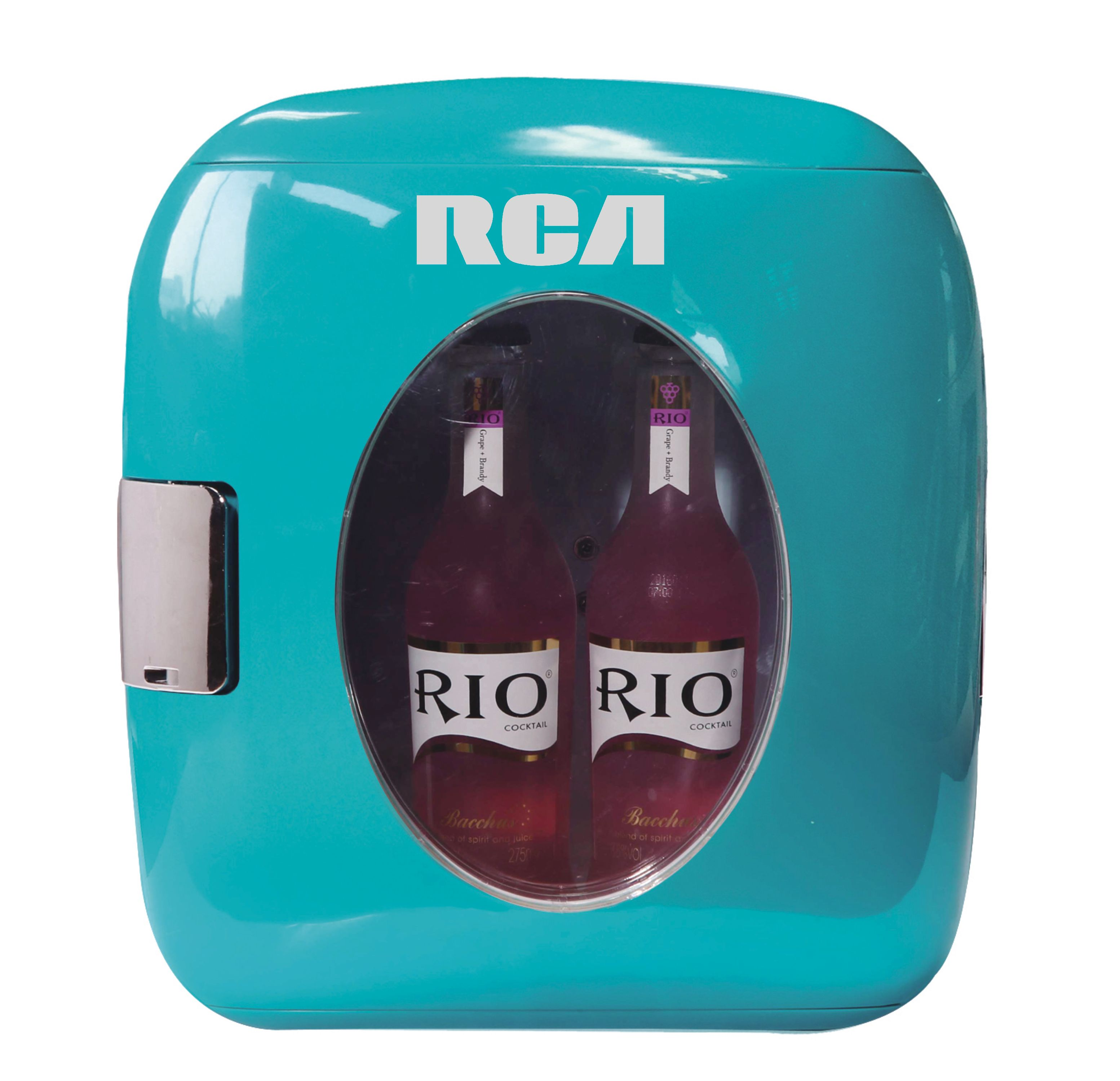 RCA Portable Retro 12-Can Mini Fridge RMIS462, Blue