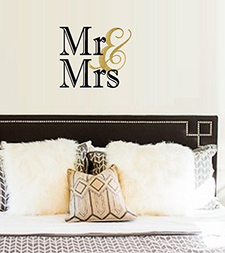 "Best  ~ Decals: MR. AND MRS. ~ Wall or Window Decal 13"" x 18"" (Black/Gold)"