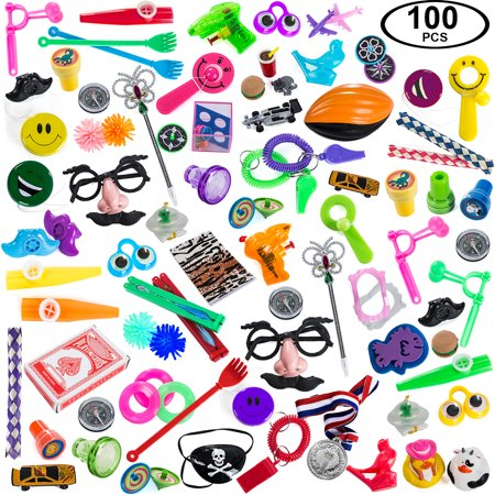 Carnival prizes toys assortment for prizes - party favors for kids - 100 pc toy school rewards - Party Favors Meaning