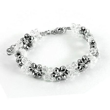 Unique Bargains Plastic Faceted Crystal Gray Clear Bracelet for Ladies - Faceted Crystal Bracelet