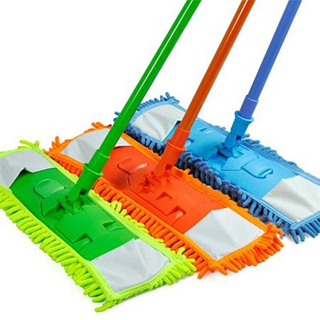 Microfiber Super Absorbent Dust Mop with Handle Telescoping Pole Floor Cleaner Noodle Mop - Aborbs 3x its