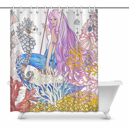YUSDECOR Cartoon Mermaid with Coral Sea Shell and Sea Horse Myth Painting Home Decor Waterproof Polyester Bathroom Shower Curtain Bath 60x72 inch - image 1 de 1