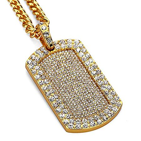 Mens New Iced Out Full CZ Dog Tag Pendant Franco Chain Necklace 24in (Gold) College Dog Tag