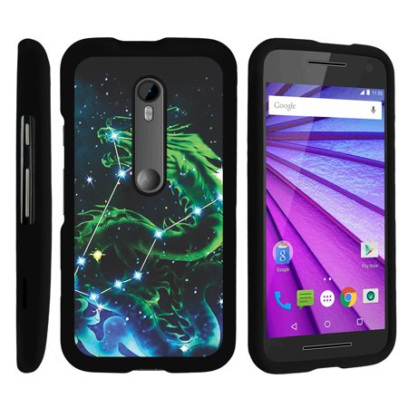 Motorola Moto G 3rd Gen, [SNAP SHELL][Matte Black] 2 Piece Snap On Rubberized Hard Plastic Cell Phone Case with Exclusive Art - Dragon  Stars