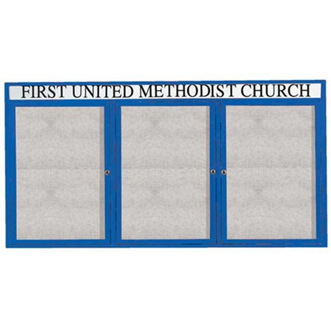 Aarco Products 3-Door Outdoor Enclosed Framed Bulletin Board with Header