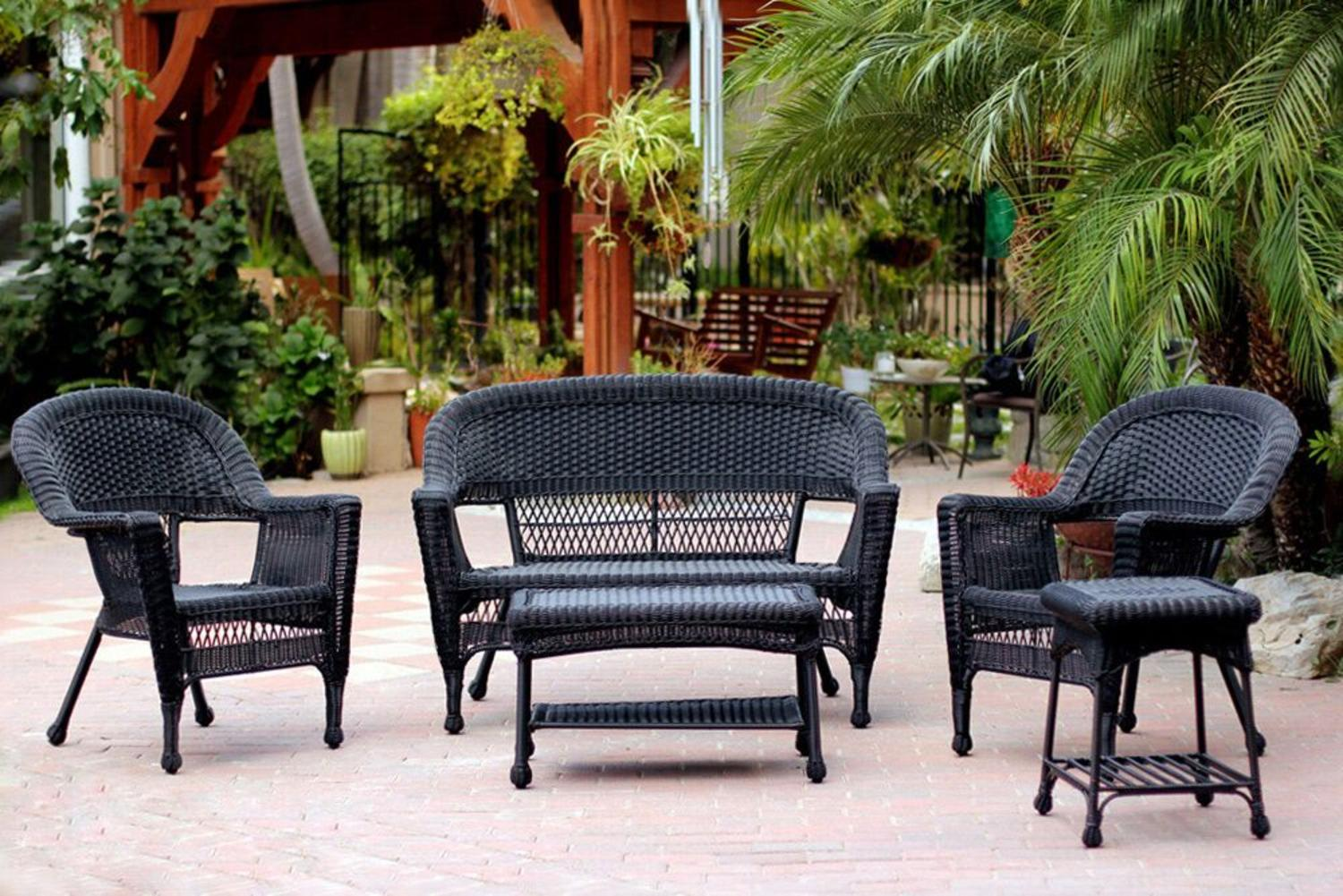 5 Piece Black Resin Wicker Patio Chair, Loveseat And Table Furniture Set