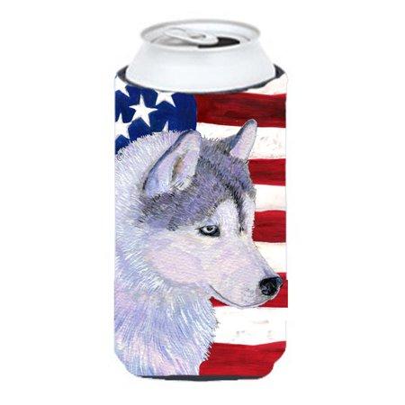 Carolines Treasures SS4220TBC Usa American Flag With Siberian Husky Tall Boy bottle sleeve Hugger - image 1 de 1