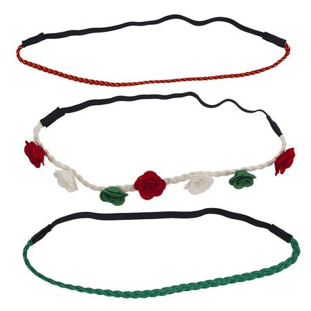 Lux Accessories Festive Holiday Christmas Flower Suede Braid Headband Set (3pcs)