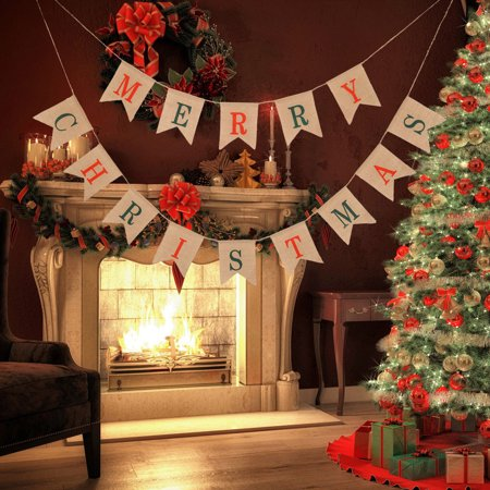 Hessian Burlap Merry Christmas Bunting Sign Rustic Wedding Party Banner ()