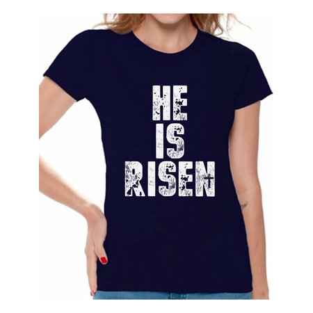 Awkward Styles He Is Risen Shirt for Women Christian Shirts for Women Happy Easter Gifts for Her Easter Christian Outfits Jesus Tshirt Bible Verse Matthew 28:6 Women's Easter Tshirt Easter Theme Shirt](60s Themed Clothing)