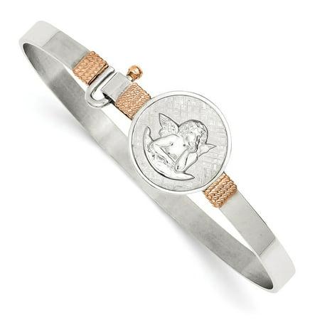 Angel Bracelet (Sterling Silver Angel Medal Hook Catch 5 MM Bangle)