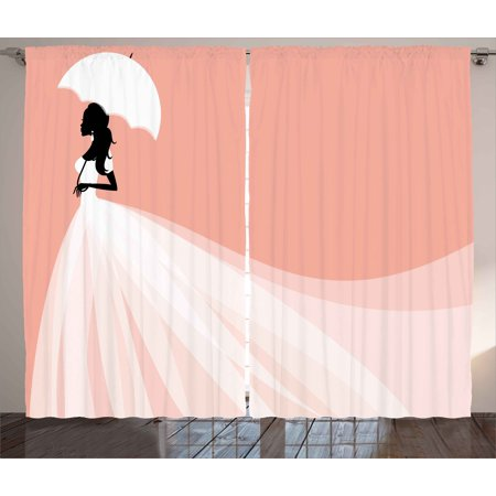 Bridal Shower Curtains 2 Panels Set, Bride in Abstract Romantic ...
