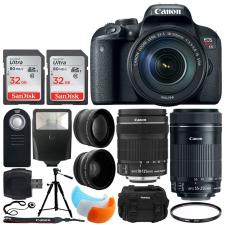 canon eos rebel t7i dslr camera + ef-s 18-135mm f/3.5-5.6 is stm lens + ef-s 55-250mm is stm lens + 64gb memory card + flash diffusers + photo4less case + tripod + remote + uv filter + slave