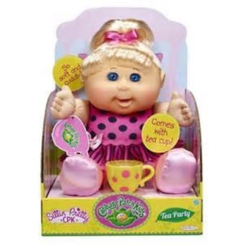 Cabbage Patch Kids Sittin Pretty TEA PARTY Doll Blonde Hair, Blue Eyes by