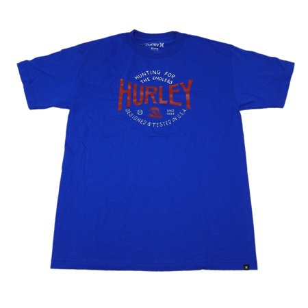 Hurley Oneill - Hurley Mens Size Large Short Sleeve Crew Neck Graphic Design Hunting T-Shirt, Royal Blue