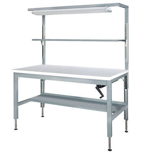 Parent Metal Products Motorized Hydraulic Height Adjustable Plastic Top Workbench