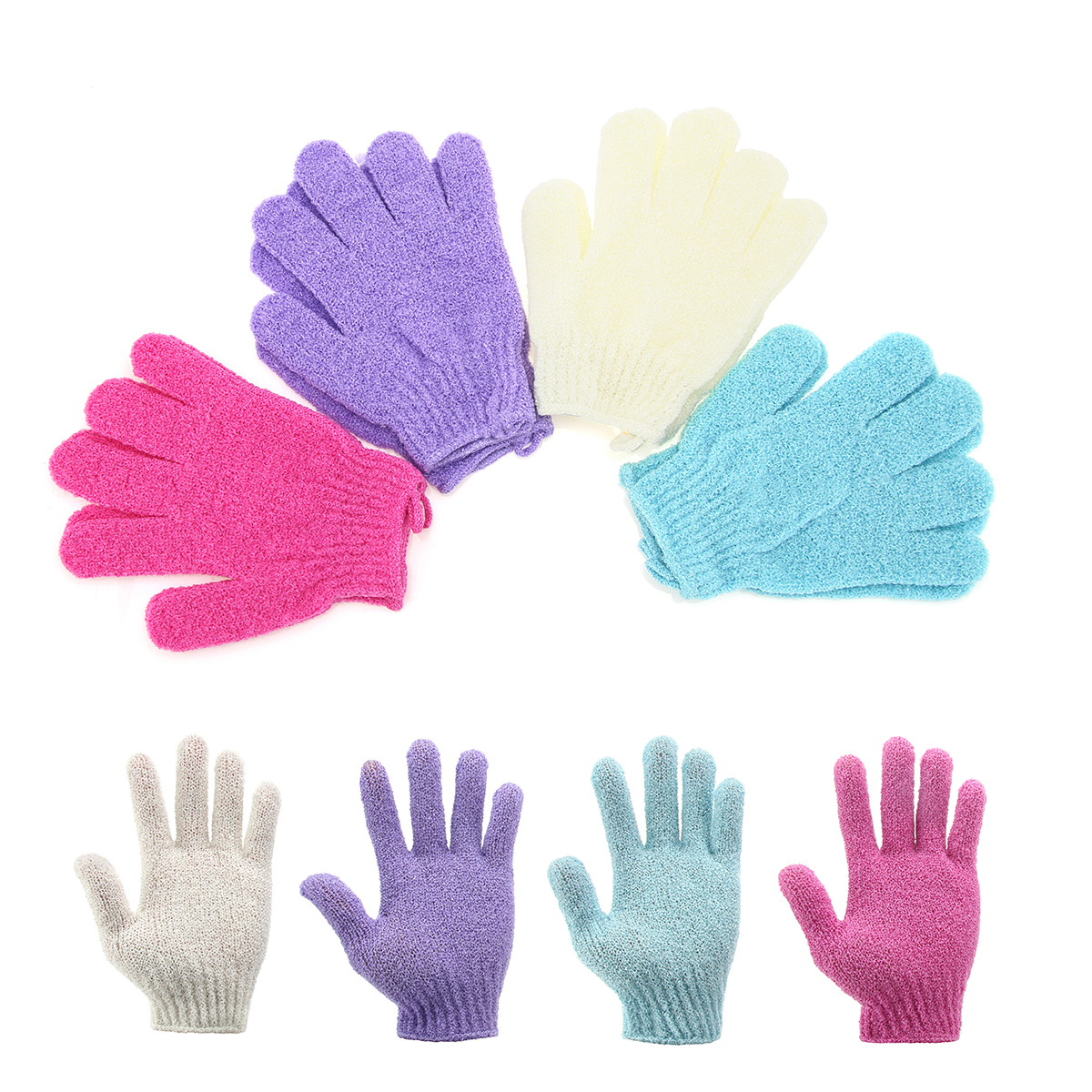 4 Pairs Exfoliating Shower Bath Gloves- Body Scrubber for Men and Women Dead Skin Cell Remover 4 Different Colors