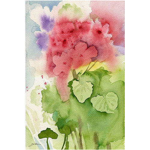 "Trademark Art ""Pink Geranium"" Canvas Art by Sheila Golden, 16x24"