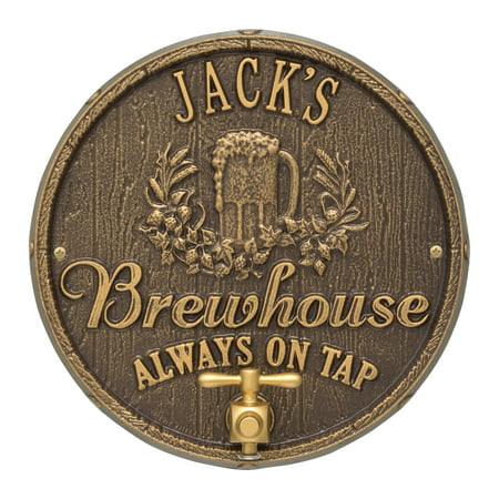 Personalized Whitehall Products Oak Barrel Beer Pub Plaque in Dark Bronze/Gold ()