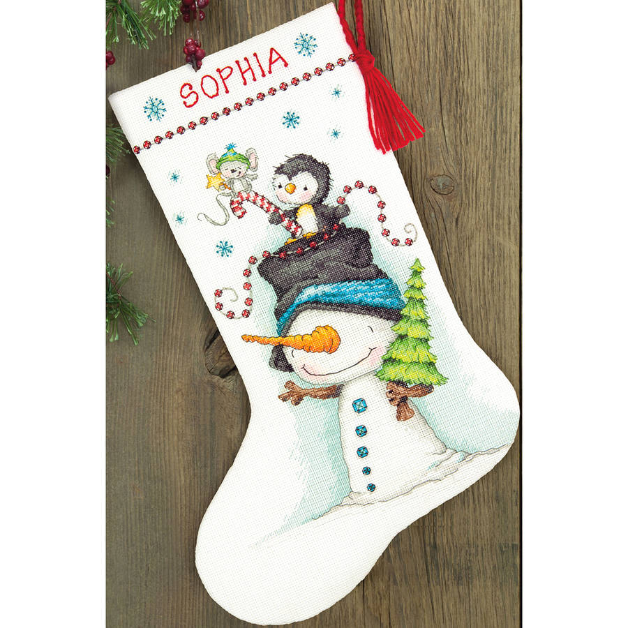 "Jolly Trio Stocking Counted Cross Stitch Kit, 16"" Long, 14-Count"