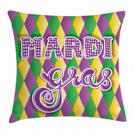 Mardi Gras Throw Pillow Cushion Cover, Stylized Mardi Gras Lettering on Classical Diamond Line Backdrop, Decorative Square Accent Pillow Case, 18 X 18 Inches, Violet Fern Green Marigold, by Ambesonne (Grass Throw Pillow)
