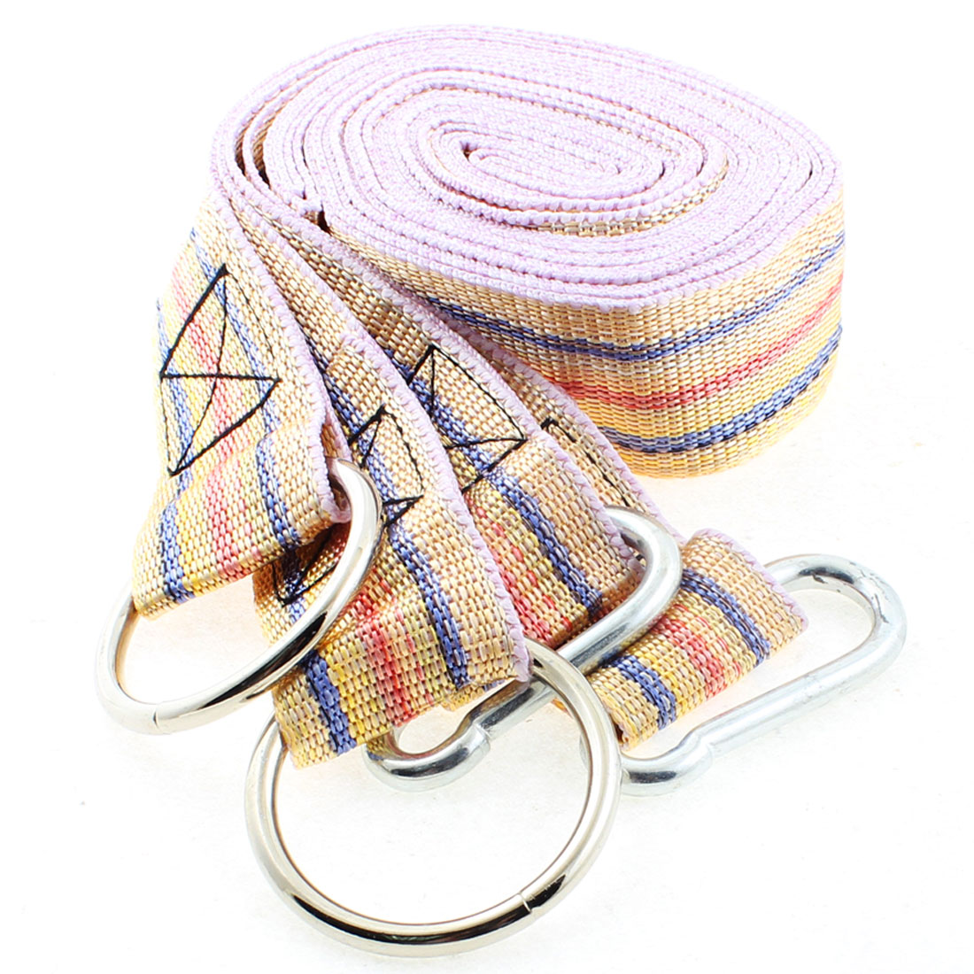 2 Pcs Metal Ring Carabiner Hook Yellow Nylon Hammock Strap Band 3.8cm Width 2.5M by Unique-Bargains