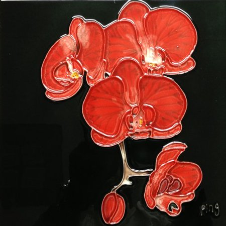 Continental Art Center 3 Red Orchids With Black Background Tile Wall Decor