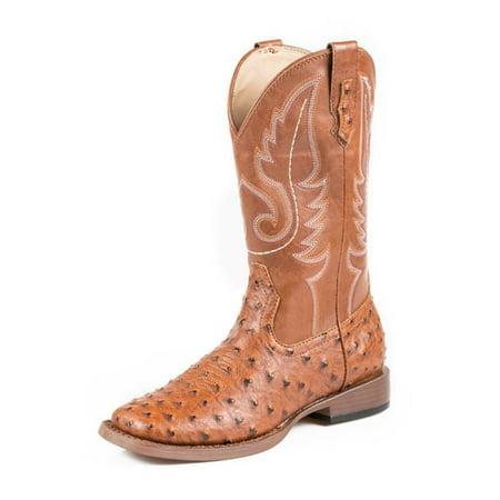 Roper Western Boots Men Square Toe Ostrich Tan 09-020-1900-0807 TA