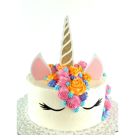 Handmade Unicorn Birthday Cake Topper Decoration with Horn, Ears, and Eyes