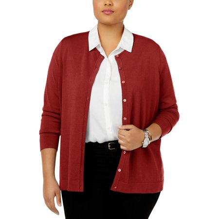 August Silk Womens Plus Knit Crew Neck Cardigan Sweater