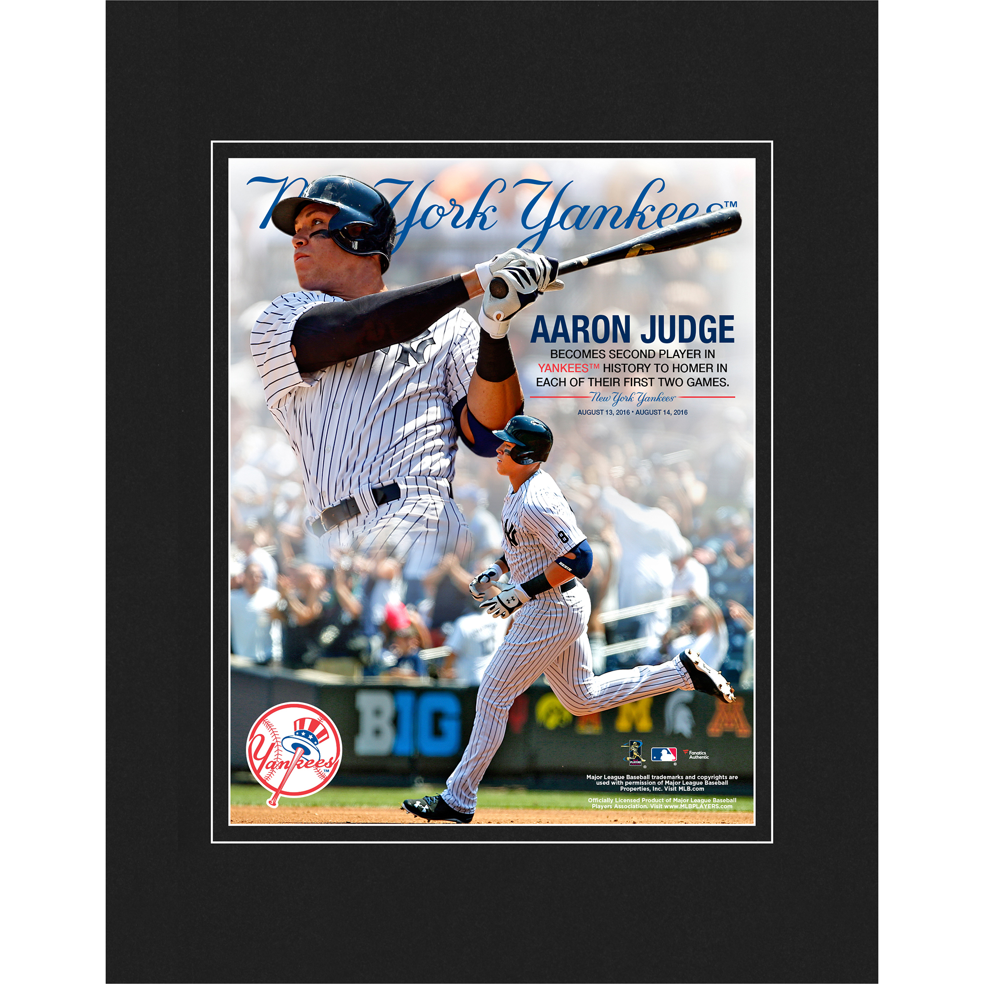 "Aaron Judge New York Yankees Fanatics Authentic 8"" x 10"" Second Yankee to Hit Home Runs in First Two Games Matted Photo - No Size"
