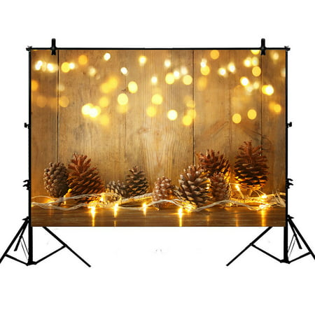 GCKG 7x5ft Christmas Xmas Pine Cones Bokeh Wood Plank Festival Celebrations Polyester Photography Backdrop Photo Background Studio Props - image 4 of 4