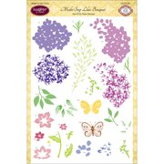 """JustRite Papercraft Clear Stamps 6""""X8""""-Multi-Step Lilac Bouquet"""