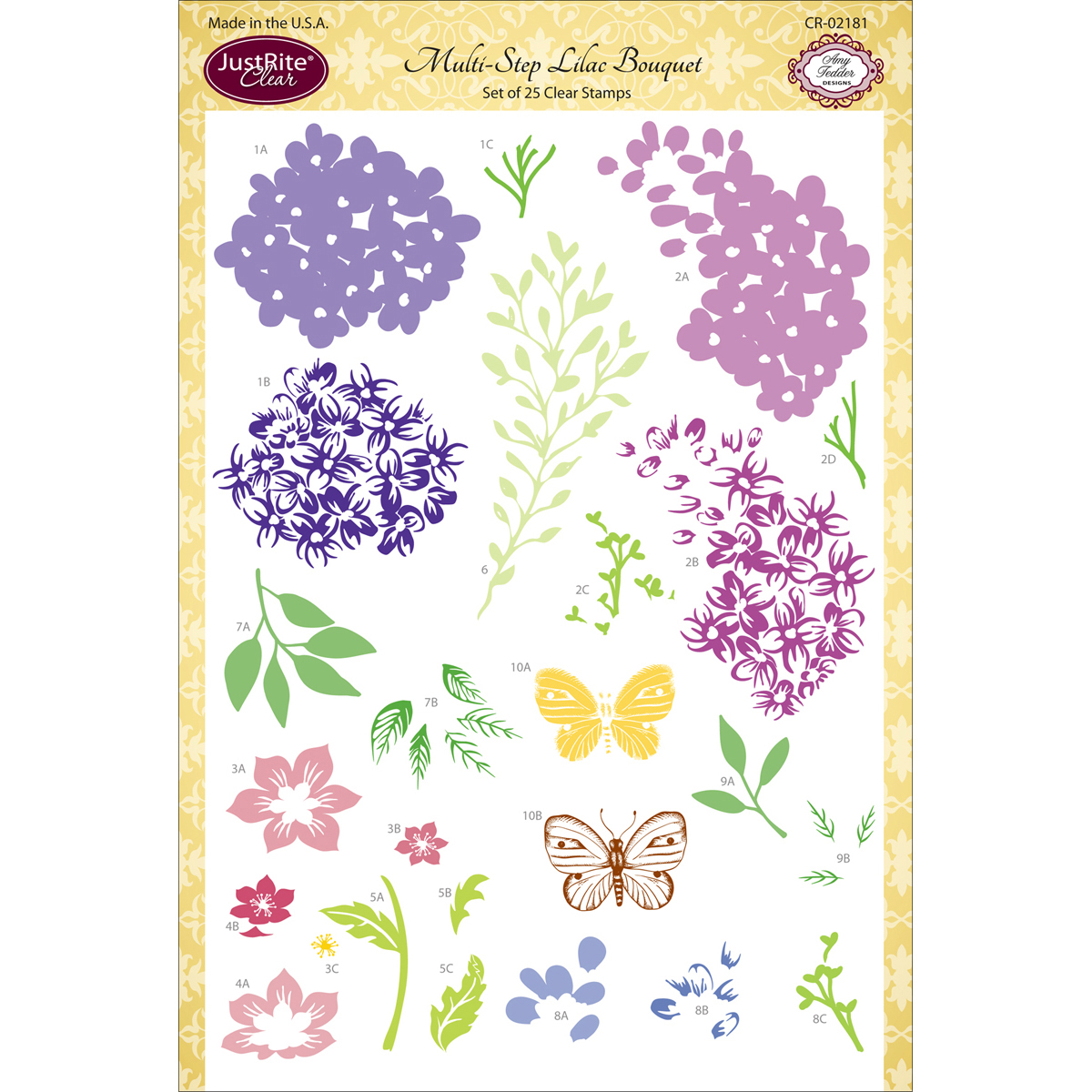 "JustRite Papercraft Clear Stamps 6""X8""-Multi-Step Lilac Bouquet"