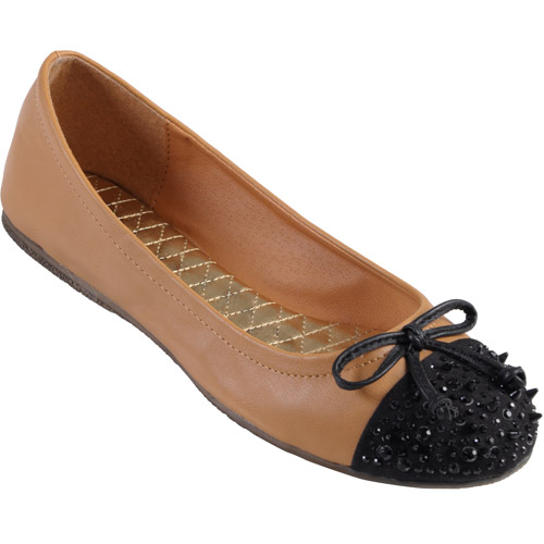 Brinley Co Women's Embellished Bow Accent Ballet Flats