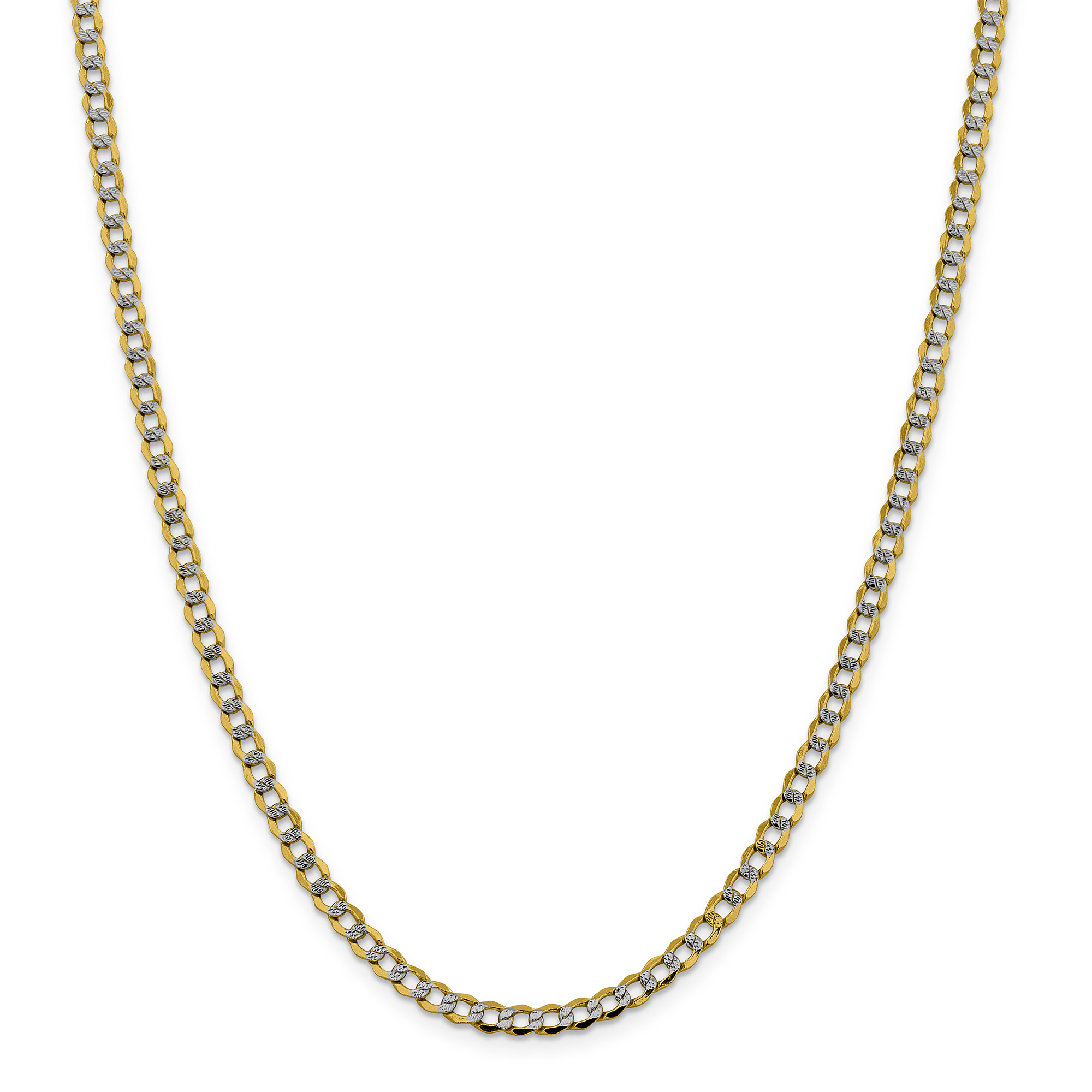 14k Yellow Gold 4.3mm Link Curb Chain Necklace 20 Inch Pendant Charm Pav? Fine Jewelry Gifts For Women For Her - image 5 of 5