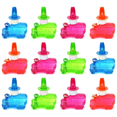 Set of 12 Cool Truck Toy Bubble Bottle Necklaces w/ Integrated Whistle (Colors May Vary) - Bubble Necklaces