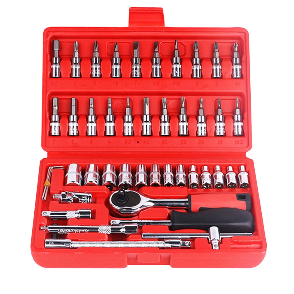 46pcs Combination Socket Bit Set Ratchet Torque Wrench Auto Repair Hand Tools