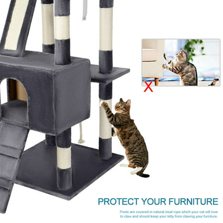 "68"" Cat Tree Cat Scratching Posts,Deluxe Kitten Play House with 2 Condos Natural Sisals, Grey - image 3 of 7"