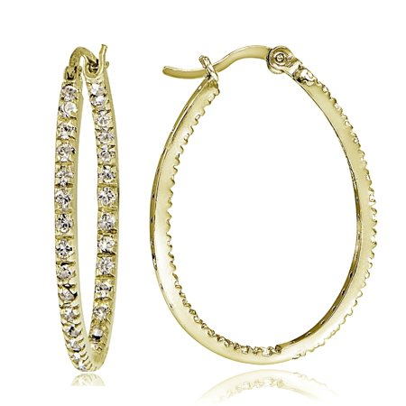 Silver Tone Oval Hoop (Gold Tone over Sterling Silver Cubic Zirconia Inside Out 30mm Oval Hoop)