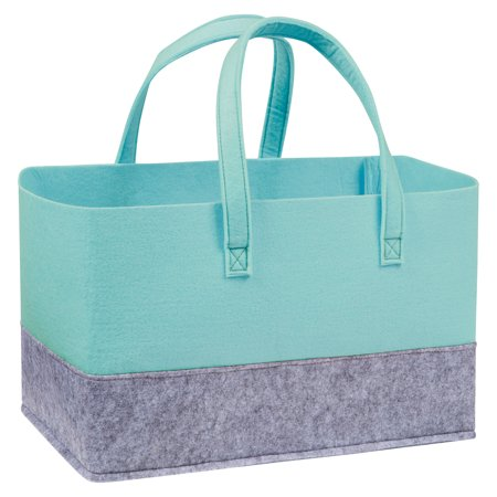 Pale Aqua and Light Gray Felt Essential Storage Tote