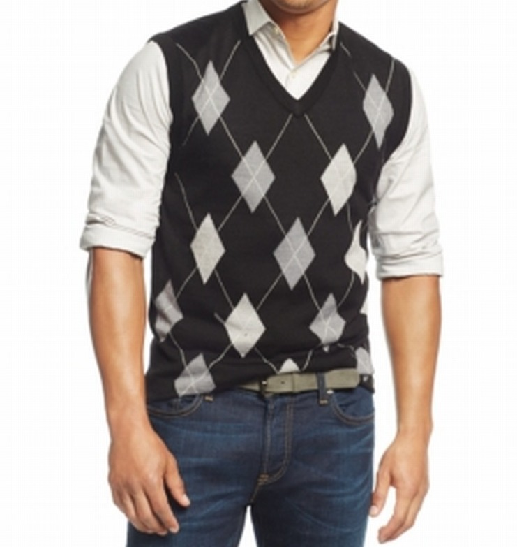 Club Room NEW Black Argyle Print Men's Size Large L Wool V-Neck Knit Vest $75