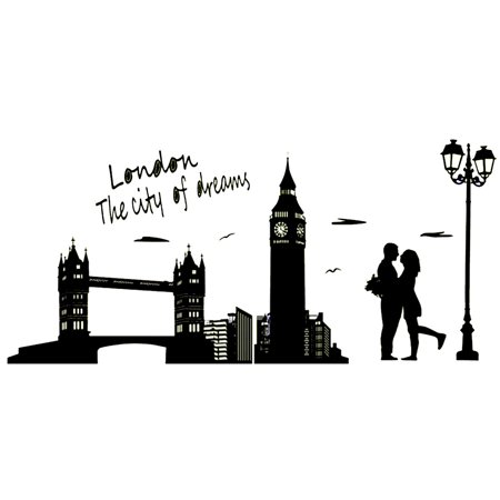 PVC London Clock Tower Pattern Water Resistant Removable Glow Wall Sticker Decal