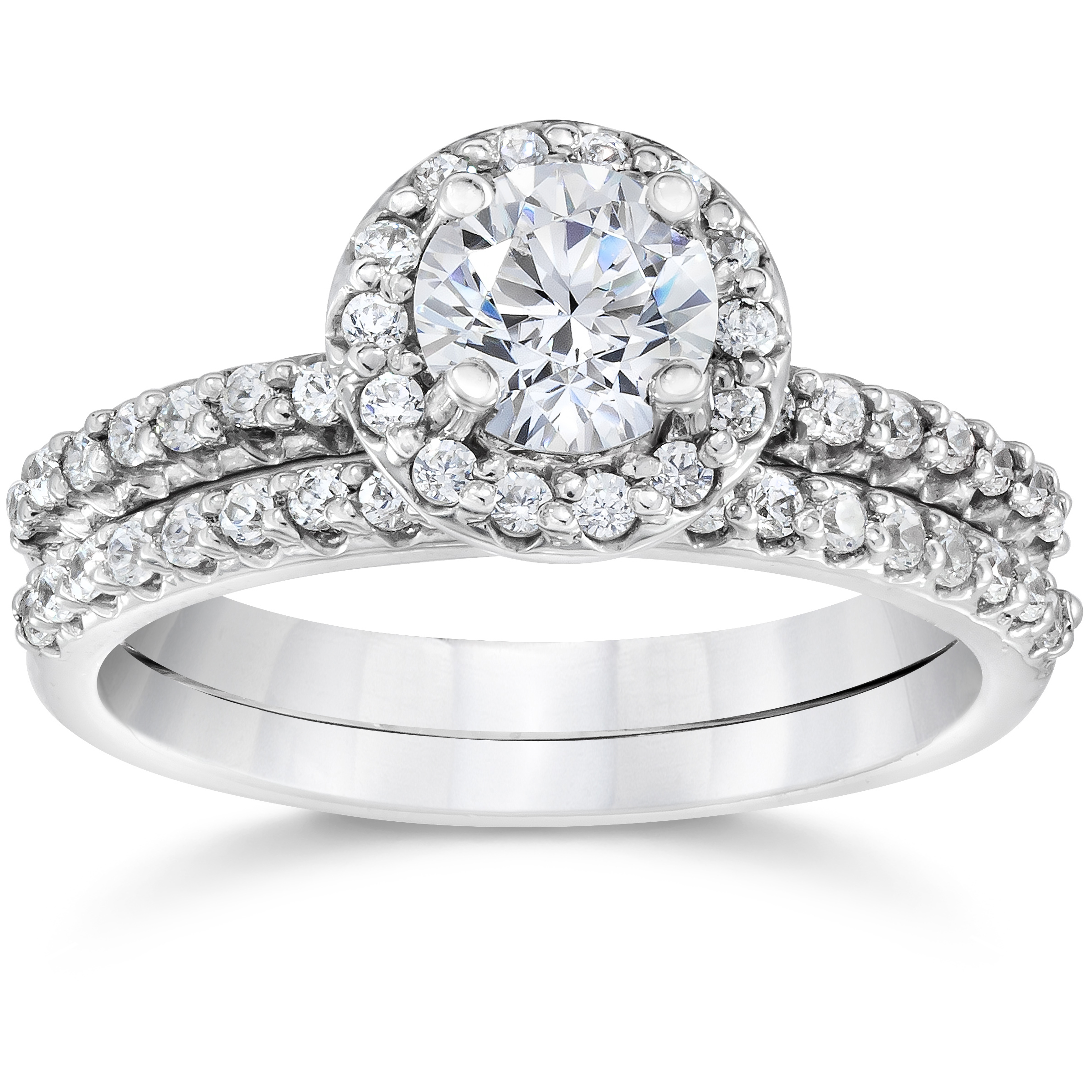Pompeii3 1 1/10 ct Diamond Pave Halo Solitaire Engagement...